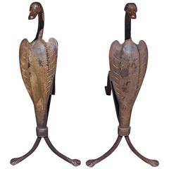 Pair of American Cast Iron Hand Chased Egret Andirons, Circa 1900