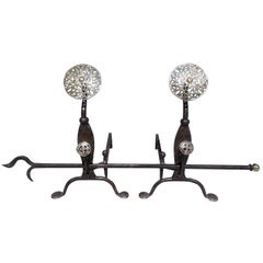 Pair of English Brass and Cast Iron Double Medallion Andirons, Circa 1840