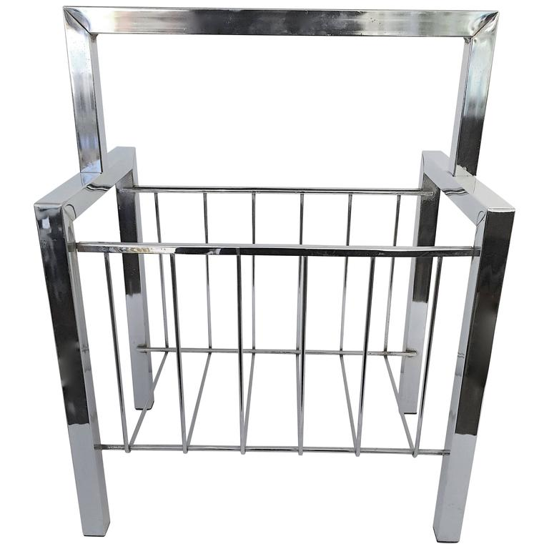 Chrome Magazine Rack in the Manner of Cy Mann