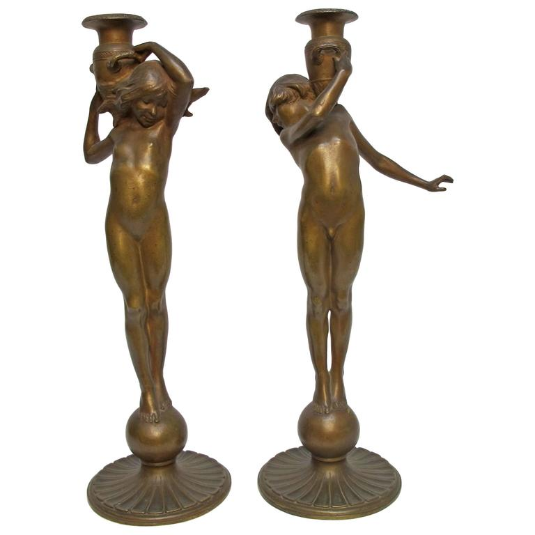 Art Nouveau Bronze Candlesticks