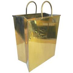 Italian Brass Shopping Bag Magazine Holder or Waste Basket