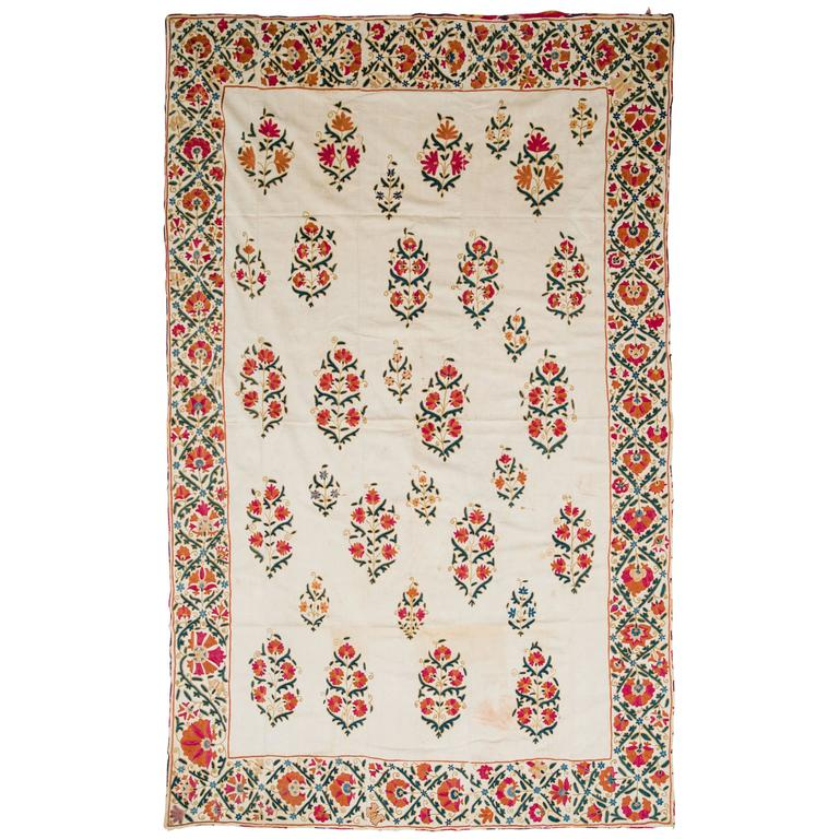 19th Century Uzbek Silk Embroidered Suzani Tapestry For Sale