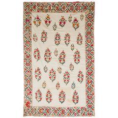 19th Century Uzbek Silk Embroidered Suzani Tapestry