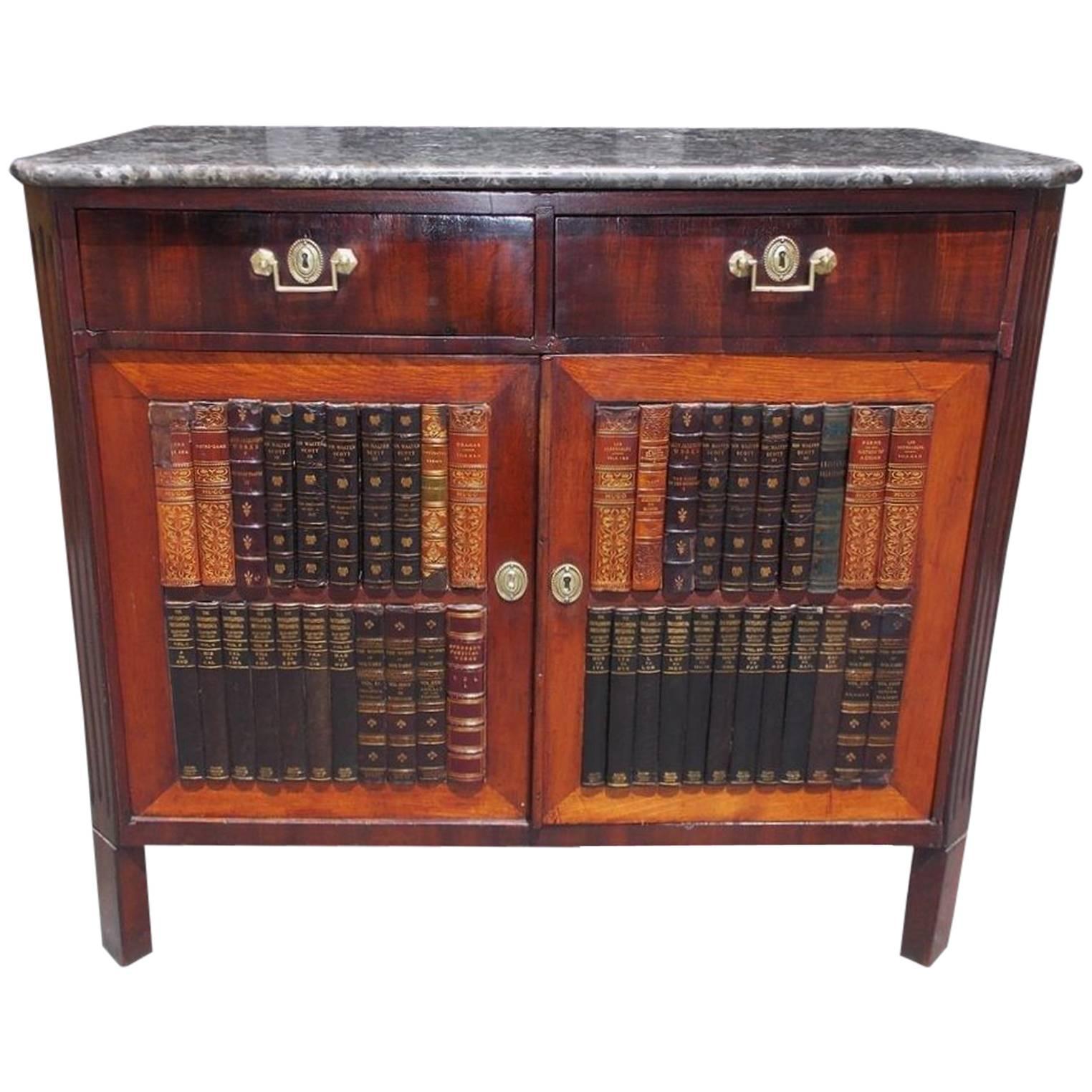 English Regency Mahogany Marble-Top Bookcase Cabinet, Circa 1815