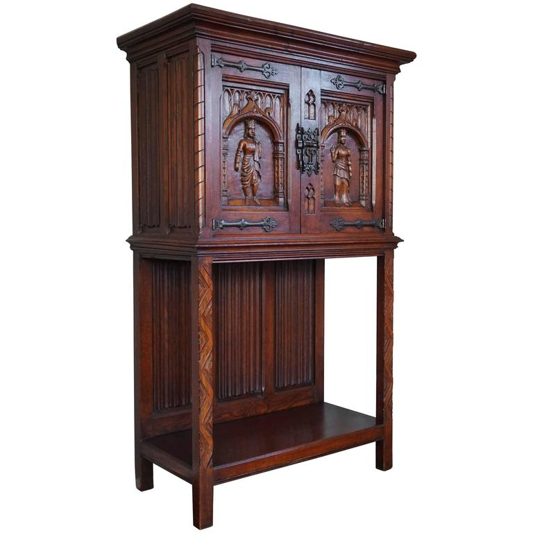 Gothic Revival Credenza / Drinks Cabinet With Hand Carved King And Queen  For Sale