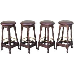 Set of Four Early 1900s Bar Stools from Philadelphia, Pennsylvania