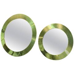 Magnificent Set of Two Curtis Jere Circular Brass Wall Mirrors
