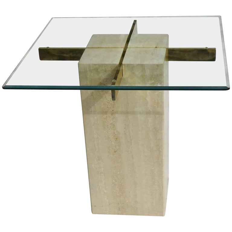 Artedi Vintage Occasional Table in Travertine, Brass, Beveled Glass, circa 1985 For Sale