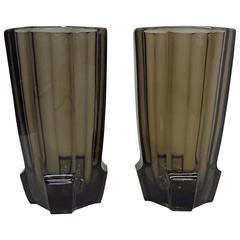 Pair of Art Deco Glass Vases Style of Koloman Moser