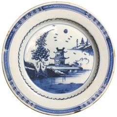 London Delft Plate, Chinese Pagoda, circa 1770