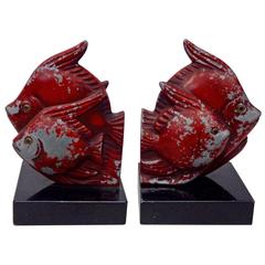 French Style Cast Fish Bookends in Original Worn Paint