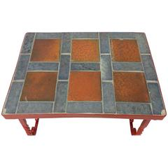 Early Tile in Cement Top Wrought Iron Table