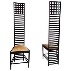Striking Pair of Hill House Chairs Designed by Charles Mackintosh for Cassina