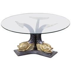 1960s Italian Brass Koi Fish Sculptural Coffee Table