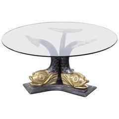 1960s Italian Brass Koi Fish Sculptural Coffee Table