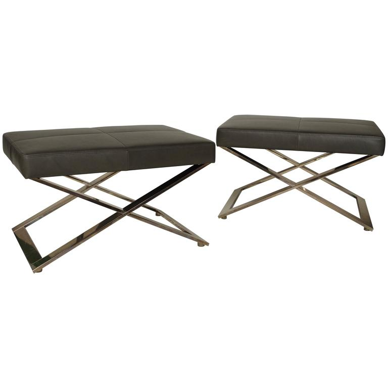 Pair of Italian Stools in Leather of Poltrona Frau
