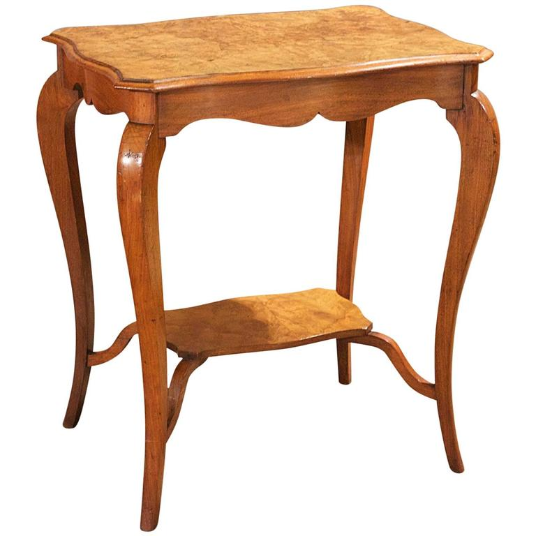 Antique English Burr Walnut Two-Tier Side Table, circa 1900