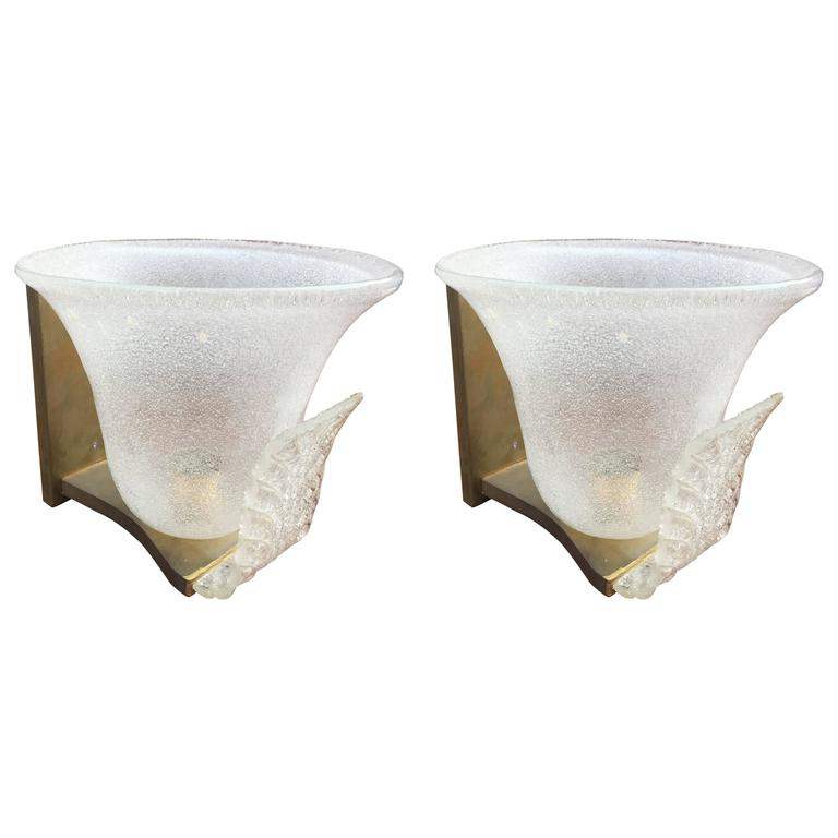 Pair of Large Glass and Brass Sconces Attributed to Veronèse, Murano, circa 1970
