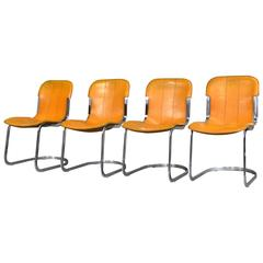 Set of Four Cognac Leather Chairs by Cidue, Italy