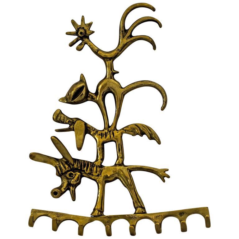 Walter Bosse Brass Key Hanger Donkey, Dog, Cat and Cock, Hertha Baller, Austria For Sale