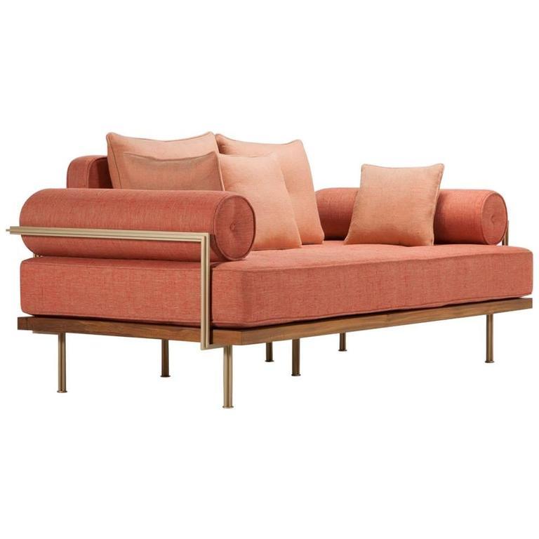 Bespoke Two-Seat Sofa, Reclaimed Hardwood, Brass Frames, by P. Tendercool