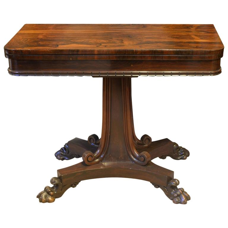 Rosewood Card Table Stamped William Priest