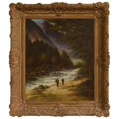 Mountainous River Landscape Oil on Canvas