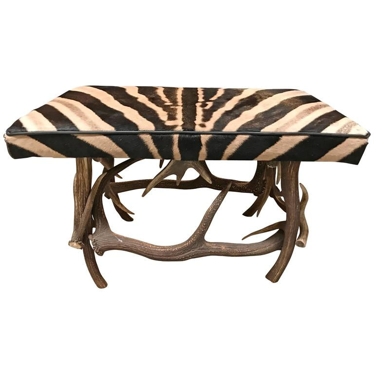 A Syrian Mother Of Pearl Bench Available To Purchase At: Antler Bench With Burchell Zebra Skin At 1stdibs