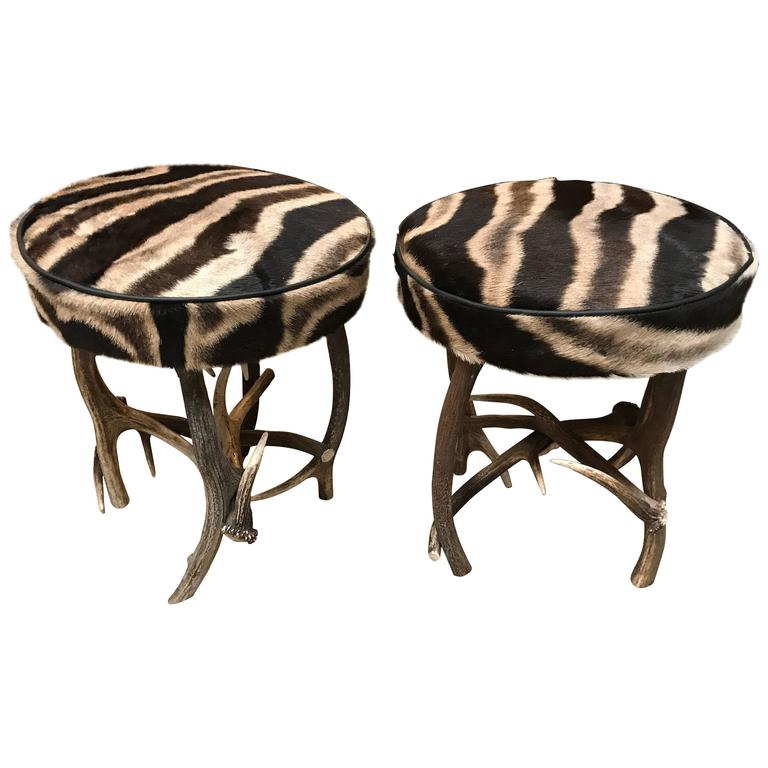 Pair Of Antler Stools With Burchell Zebra Skin At 1stdibs