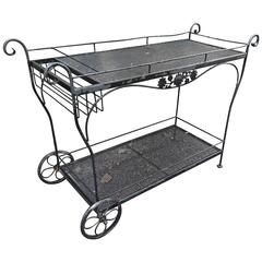Very Large Classic Black Iron Woodard Bar Cart