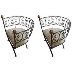Delightful Pair of Elegant Iron Barrel Shaped Chairs