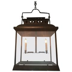 Large Rectangular French Wrought Iron Hanging Lantern