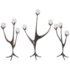 Aharon Bezalel Bronze Sculpture Menorah Candelabra in Three Parts, circa 1970s
