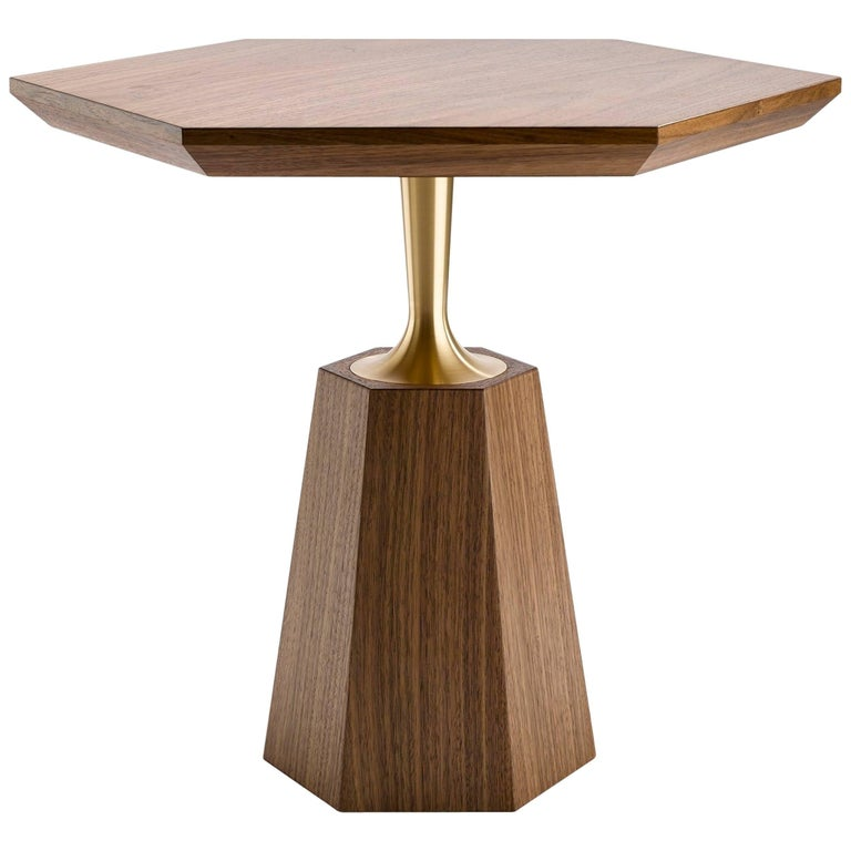 Contemporary Hex Occasional Table in Oak or Walnut and Machined Brass For Sale