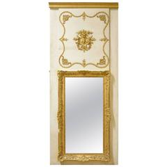 Continental White and Gilt Framed Trumeau Mirror