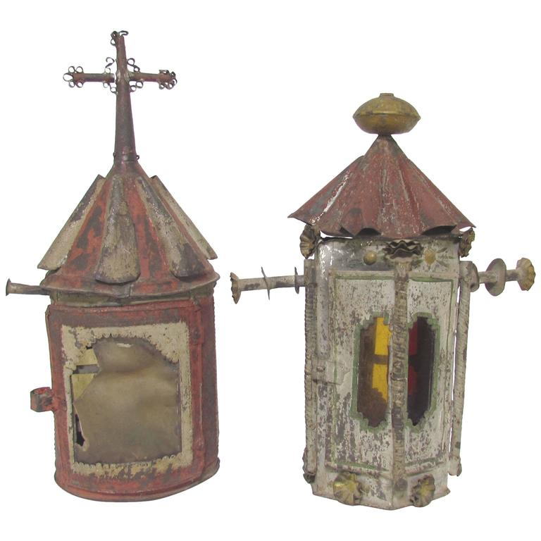 Antique Mexican Tin Folk Art Polychrome Lanterns