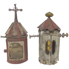 Antique Mexican Tin Folk Art Polychrome Lanterns