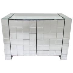Faceted Mirror Small Credenza by Ello, circa 1970s