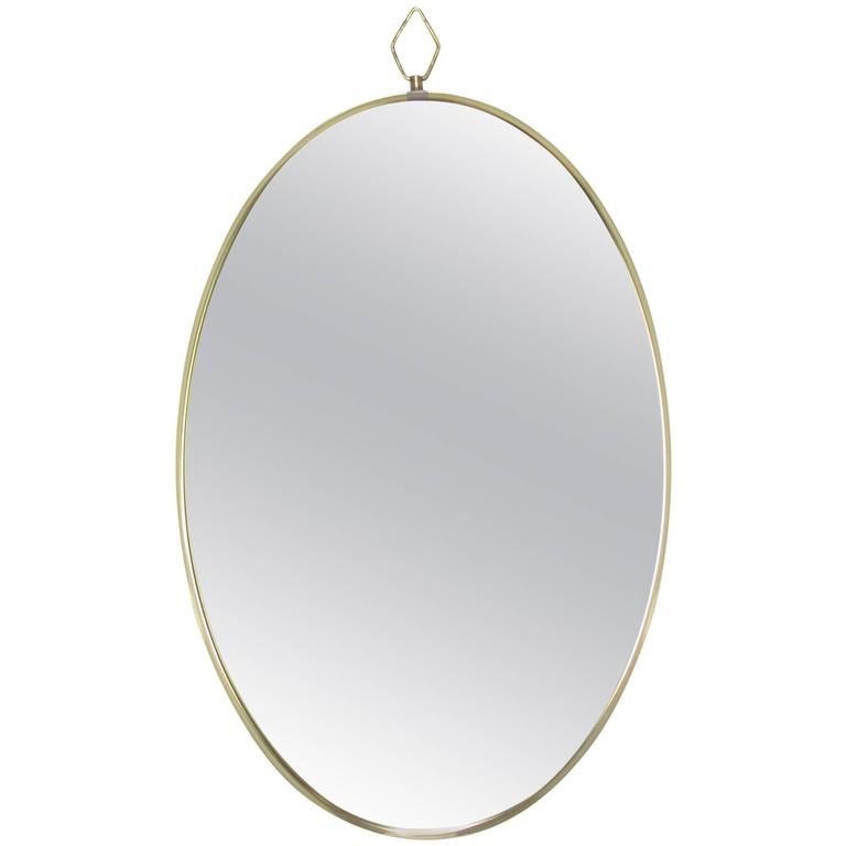 Italian Modernist Oval Wall Mirror, circa 1960s
