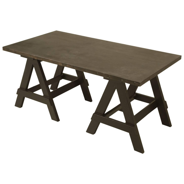 Industrial Zinc Top Desk or Kitchen Table