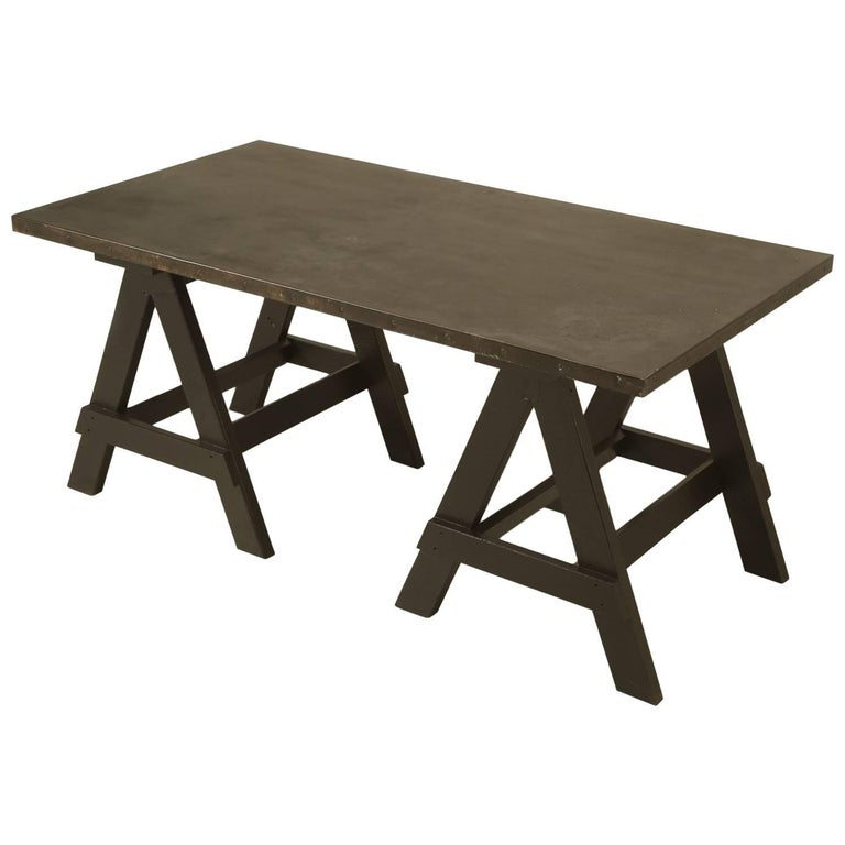 industrial zinc top desk or kitchen table for sale at 1stdibs