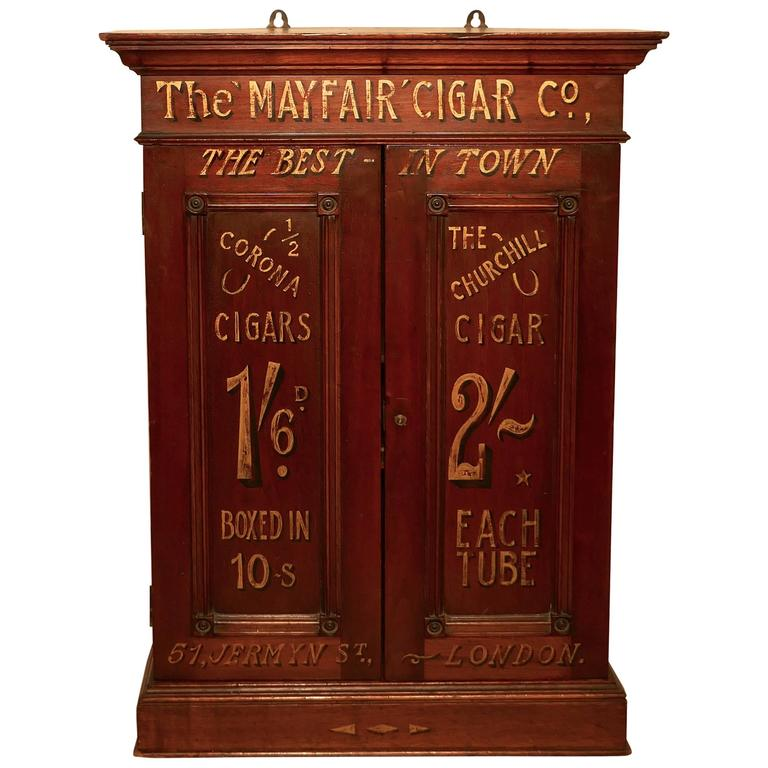 Victorian Sign Painted Cigar Store Cupboard, Shop Display