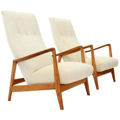 Pair of Mod 829 High Back Armchairs by Gio Ponti for Cassina