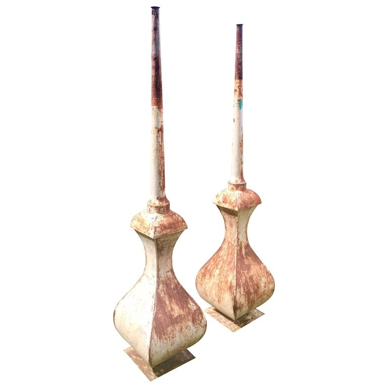 Pair of Tall French Tole Finials with Weighted Bases