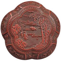 Rare Chinese Qianlong Period Beijing Cinnabar Red Lacquer Polylobed Box