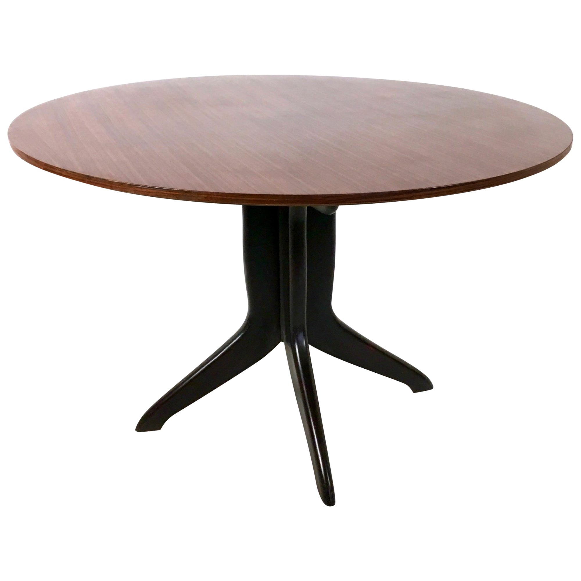 Round Wood and Beech Dining Table in the Style of Ico Parisi, Italy, 1950s