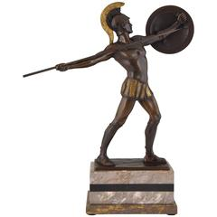 Bronze Sculpture Roman Warrior with Spear and Helmet H. J. Rieder