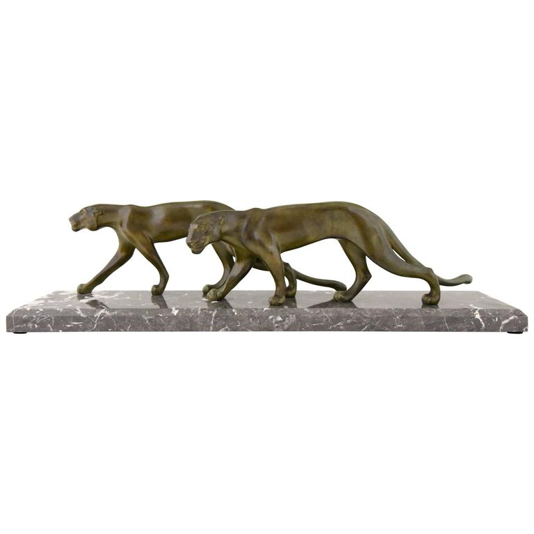 Art Deco Sculpture of Two Walking Panthers by M. Font France