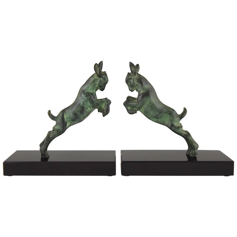 Art Deco Bronze Bookends with Jumping Goats, Joe Descomps, 1930 France