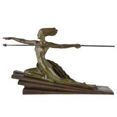 Art Deco Bronze Sculpture Amazon, Nude with Spear, Marcel Bouraine, 1925 France